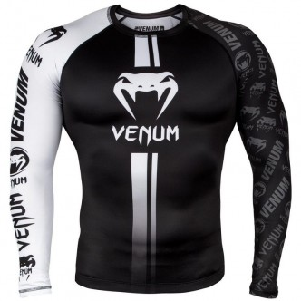 Venum Logos Rashguard Long Sleeves - BlackWhite